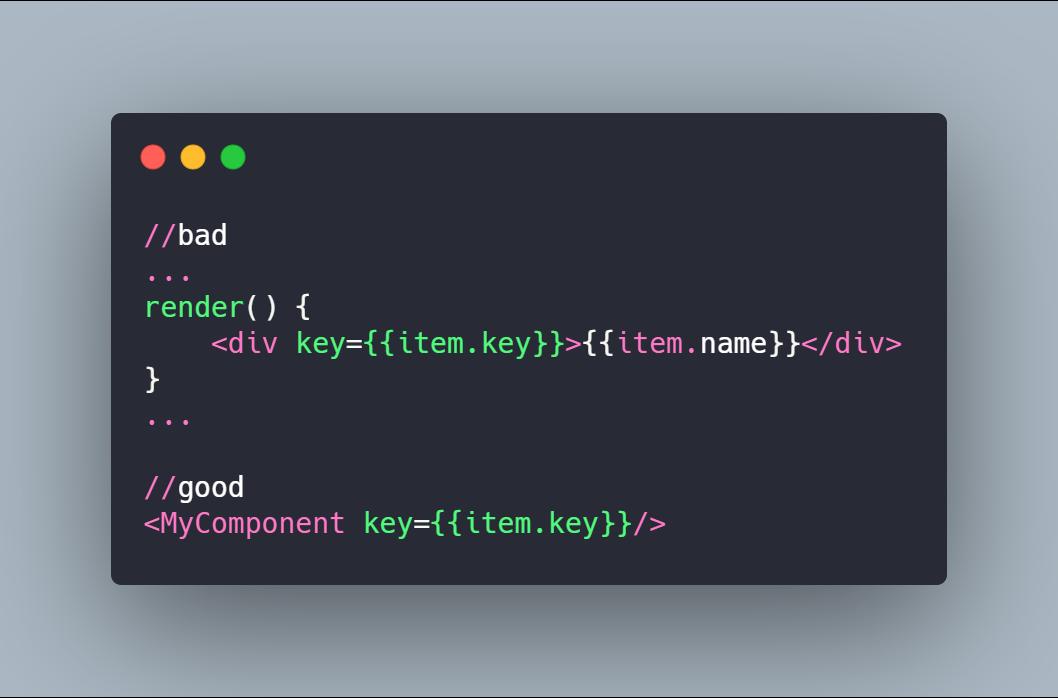 A Keys é um atributo que você deve passar para todos os componentes criados dinamicamente a partir de uma matriz.